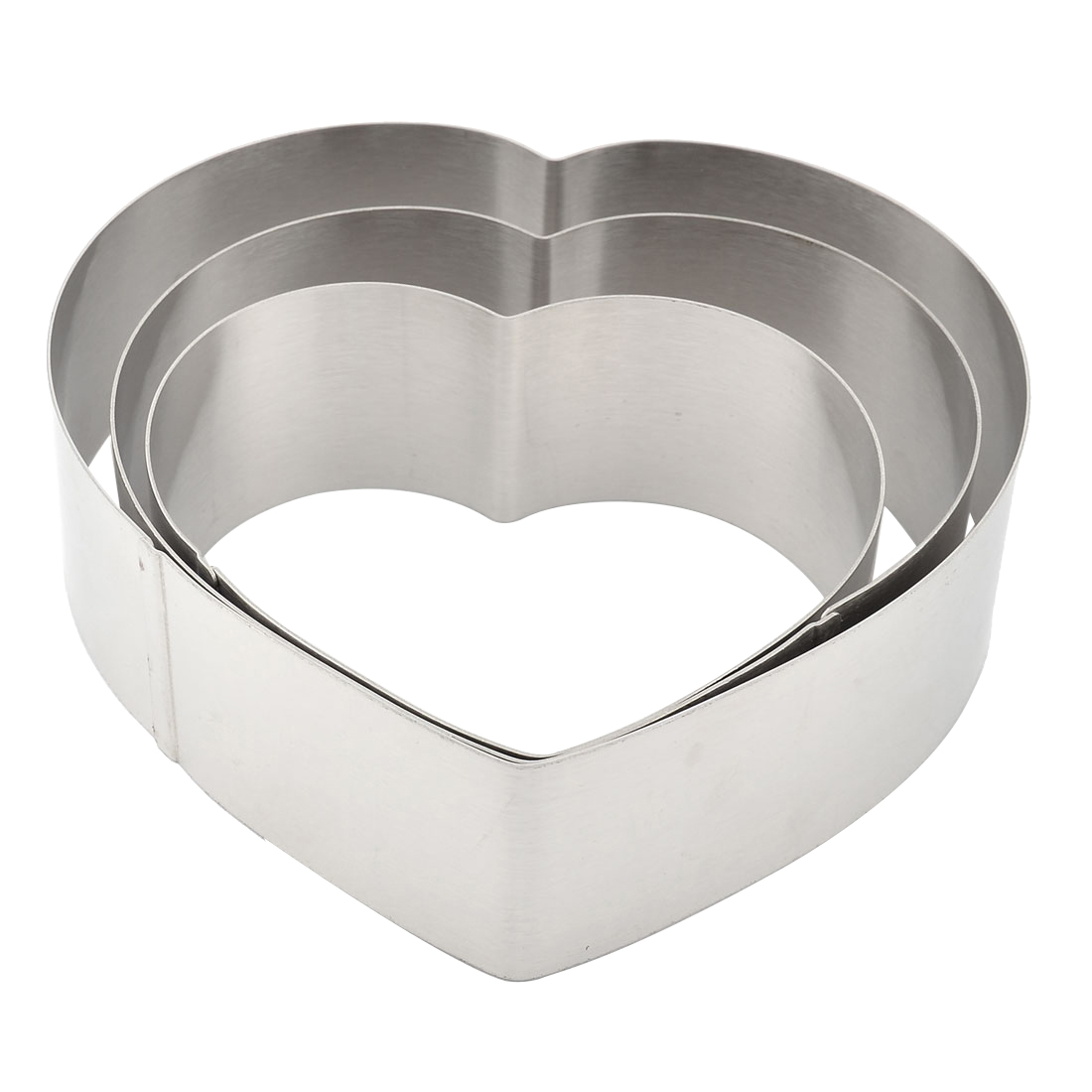 Home Kitchen Metal Heart Shape DIY Baking Tool Cake Fondant Muffin Mold Silver Tone 3 in 1
