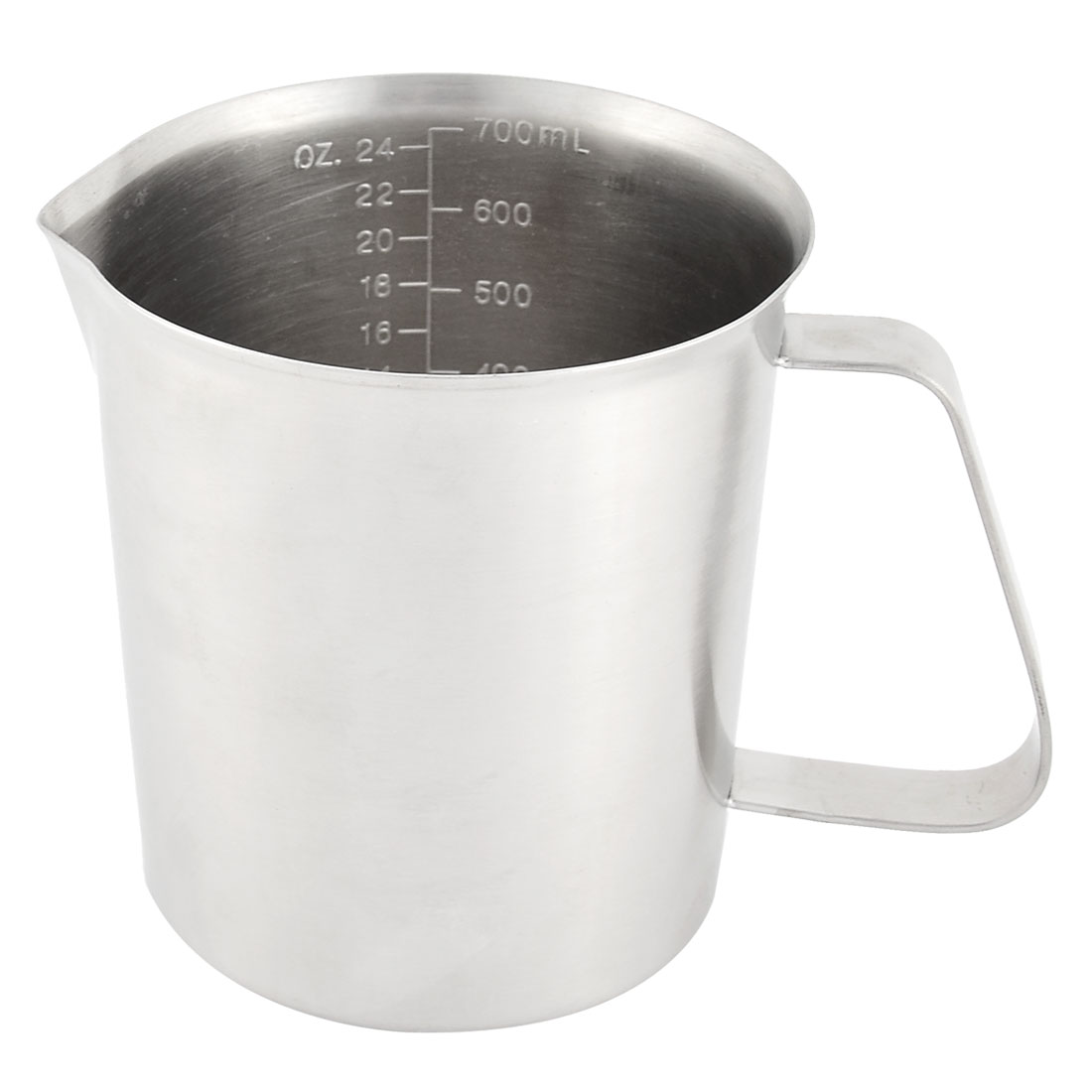 Kitchen Stainless Steel Water Oil Liquid Milk Flour Measuring Cup Mug Silver Tone 700ml