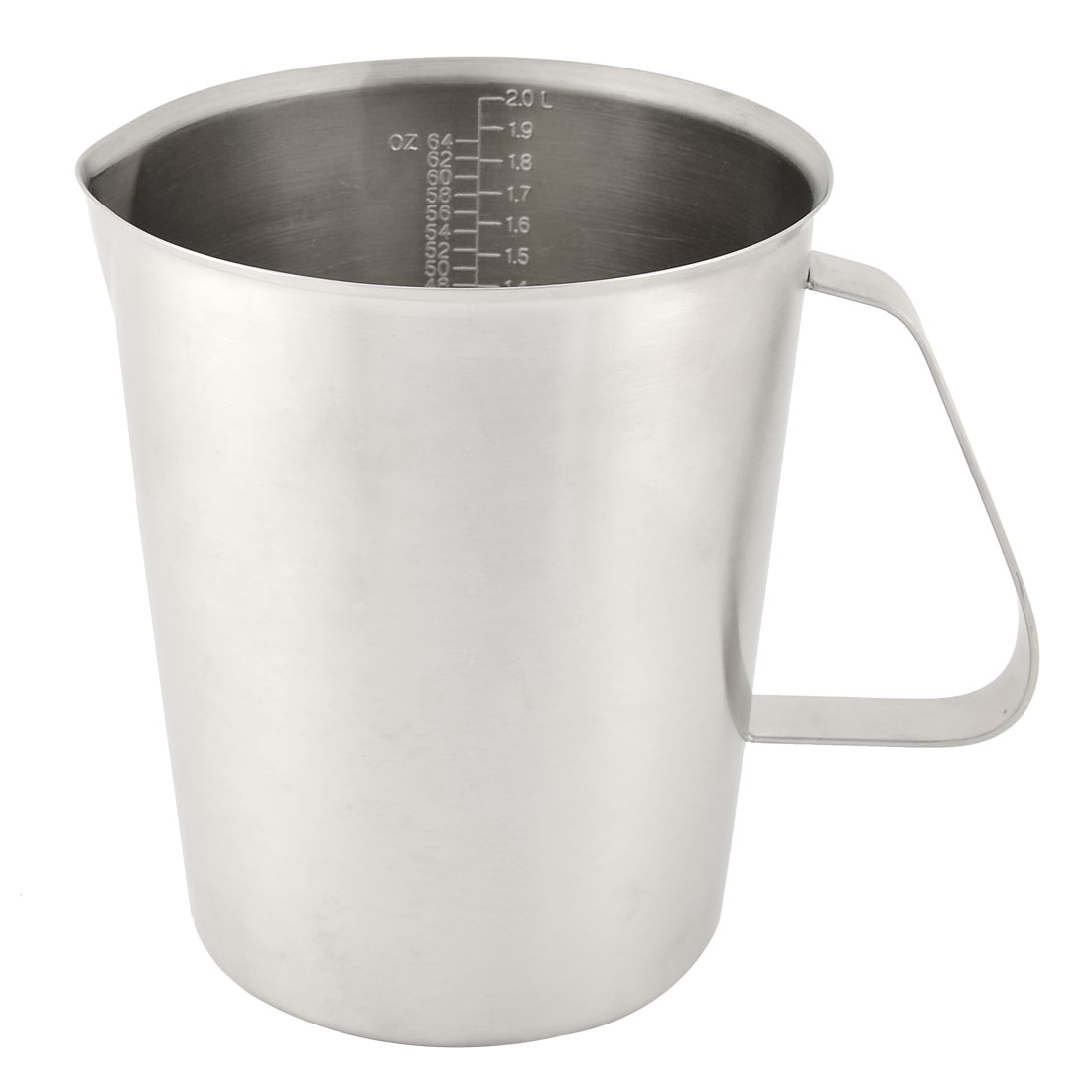 Home Kitchen Stainless Steel Water Oil Liquid Milk Powder Measuring Cup Mug Silver Tone 2000ml w Graduated Scale