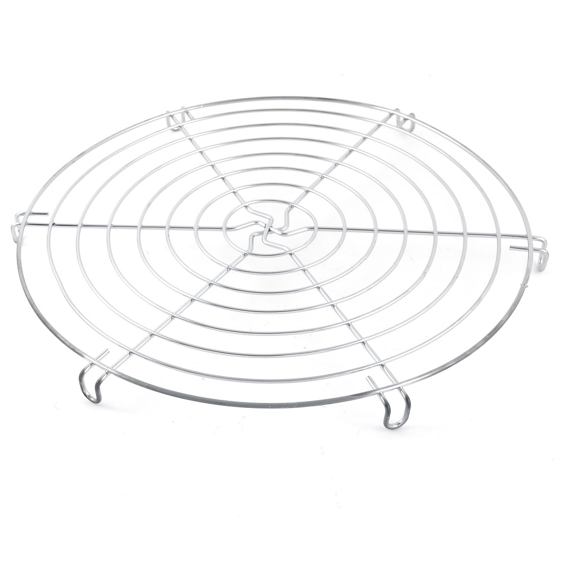 Metal Round Shape Cake Fondant Muffin Cookie Pancake Pie Cooling Rack Silver Tone 30cm