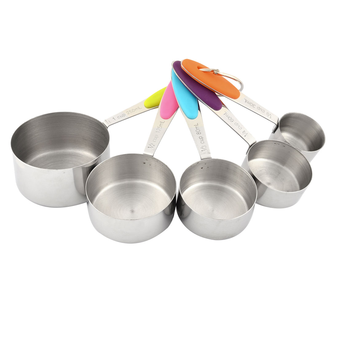 Stainless Steel Baking Cooking Tool Chili Powder Water Salt Sauce Milk Measuring Cup Silver Tone 5 in 1