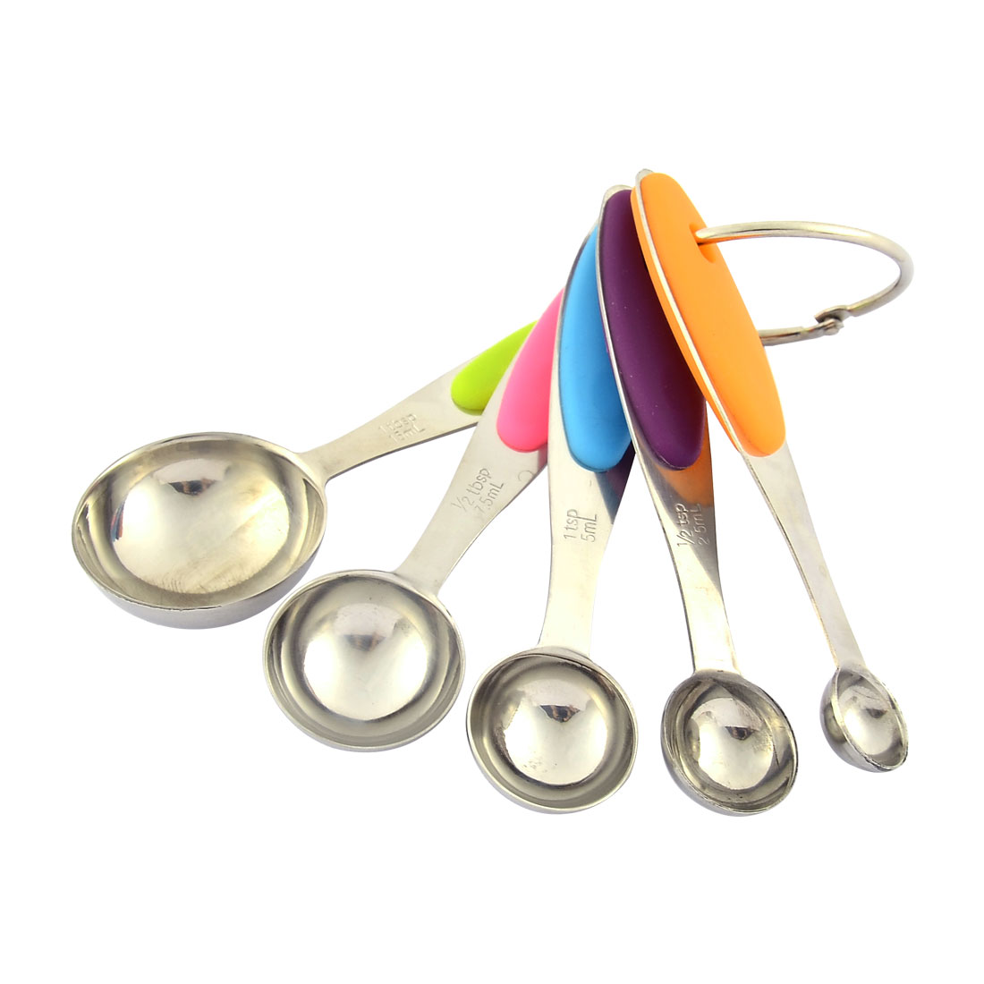 Rubber Coated Handle Tea Soup Coffee Measuring Spoon Set w Hanging Ring