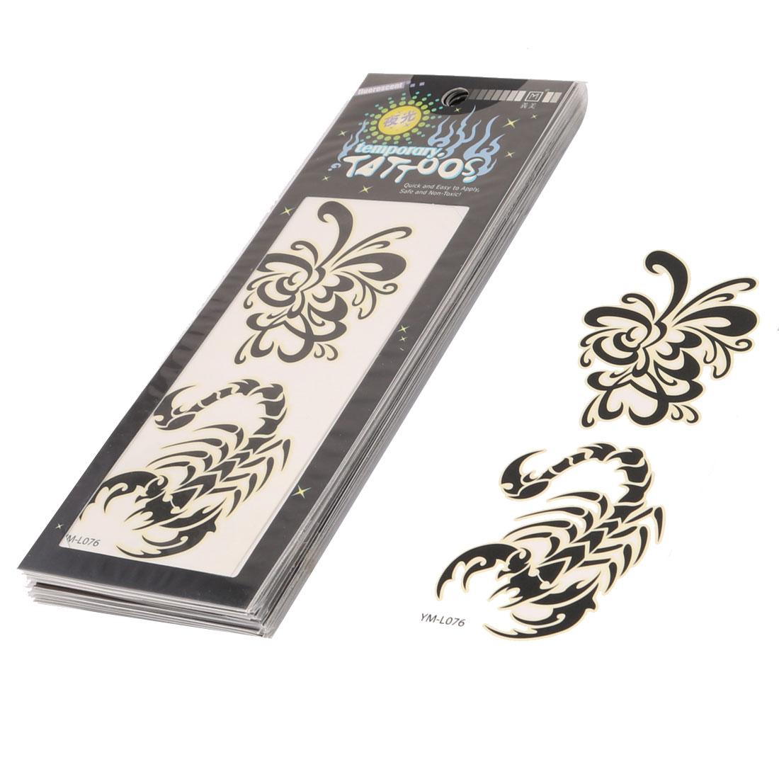 Ink Scorpion Flower Pattern Transfer Temporary Tattoo Sticker Black 10 Pcs