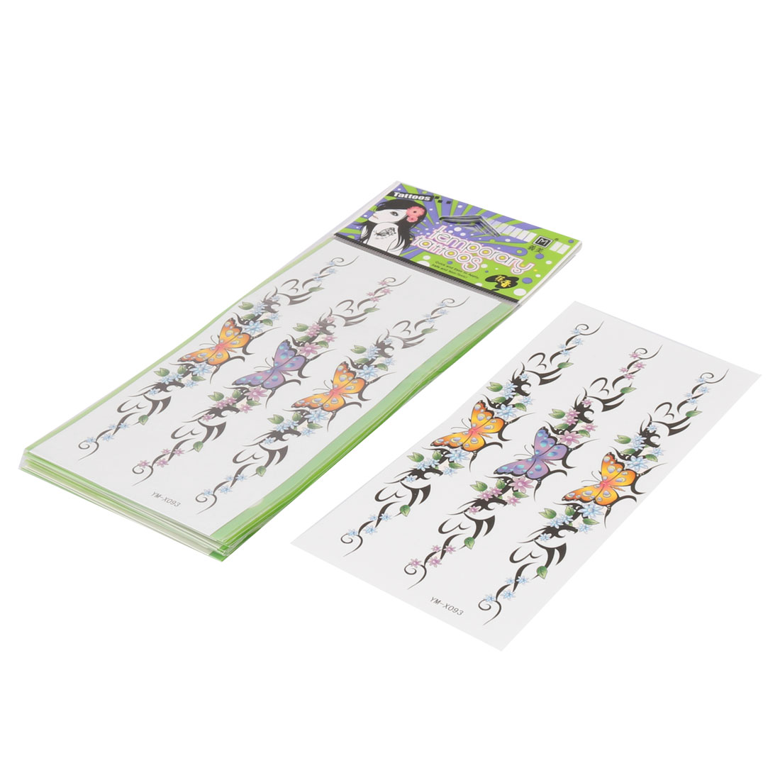 Ink Flowers Butterfly Pattern Transfer Temporary Tattoo Sticker Colorful 10 Pcs