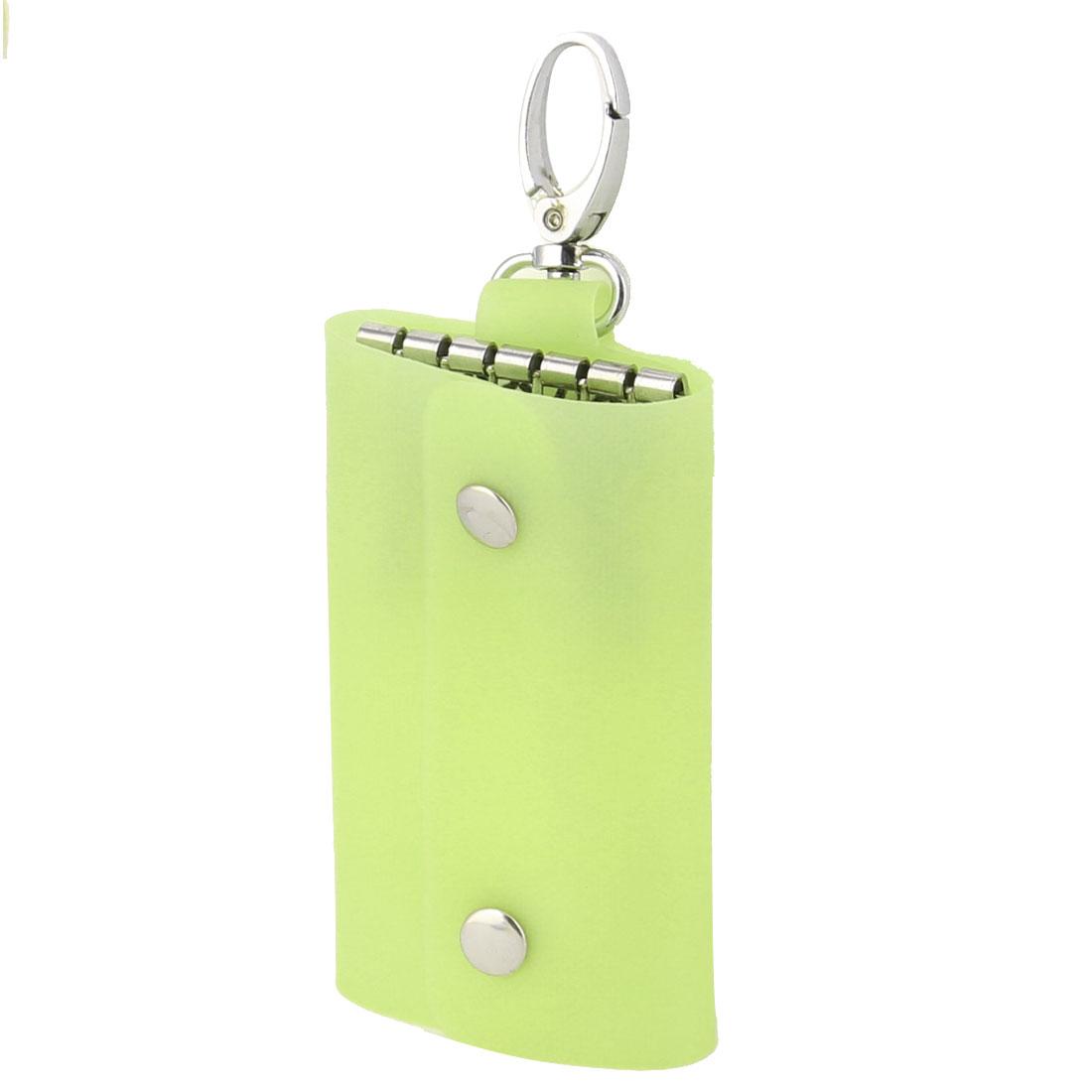 Plastic Cover Six Metal Hooks Portable Keys Holder Bag Case Silver Tone Yellow