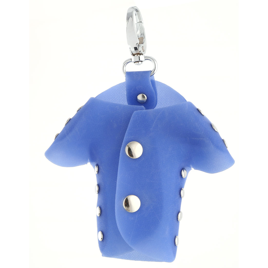 Plastic Cover Clothes Shape Six Metal Hooks Keys Holder Bag Silver Tone Blue