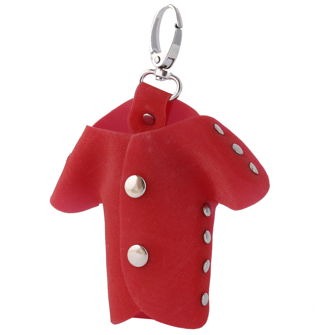 Plastic Cover Clothes Shape Portable Keys Holder Bag Case Silver Tone Red