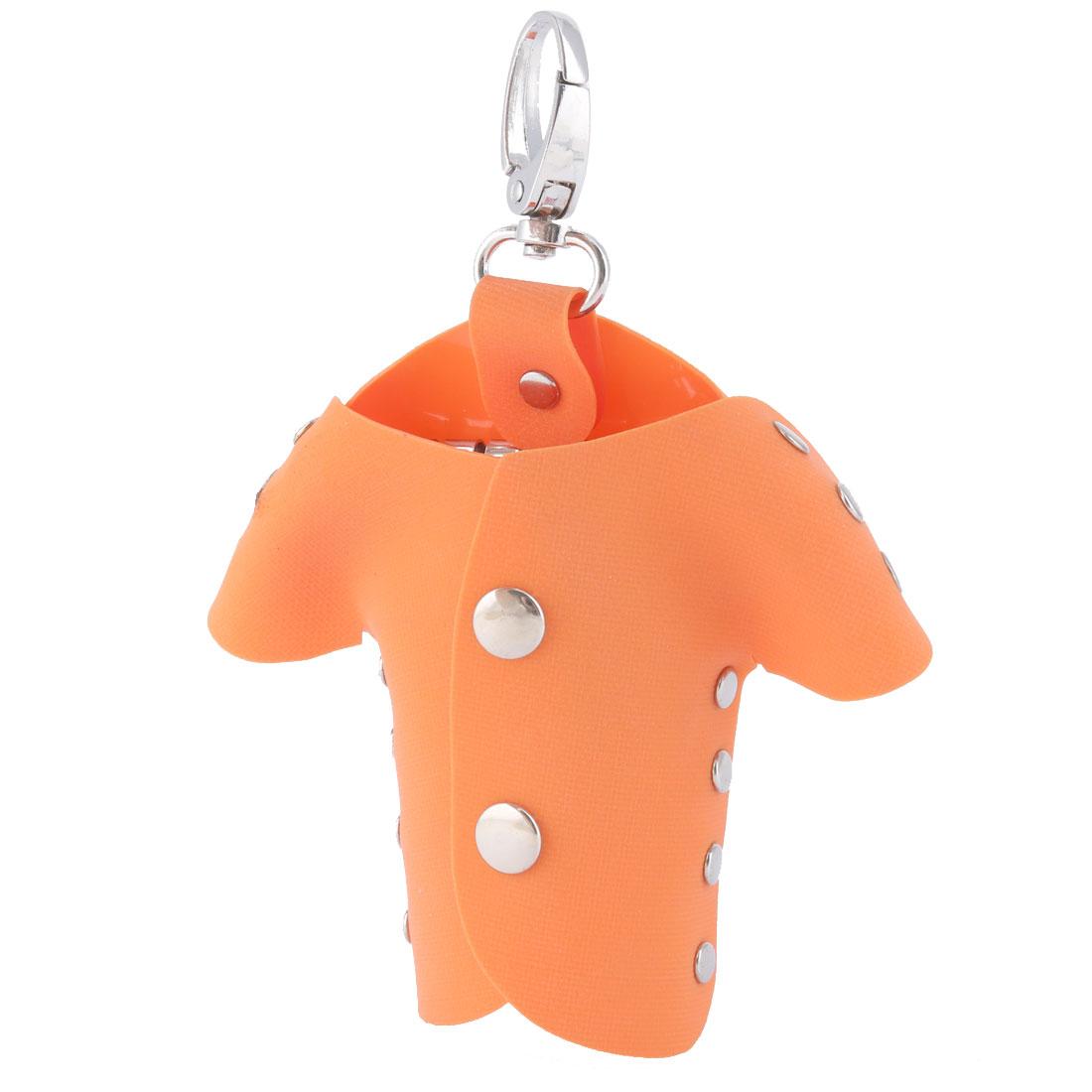 Plastic Cover Portable Keychain Keys Holder Bag Case Silver Tone Orange