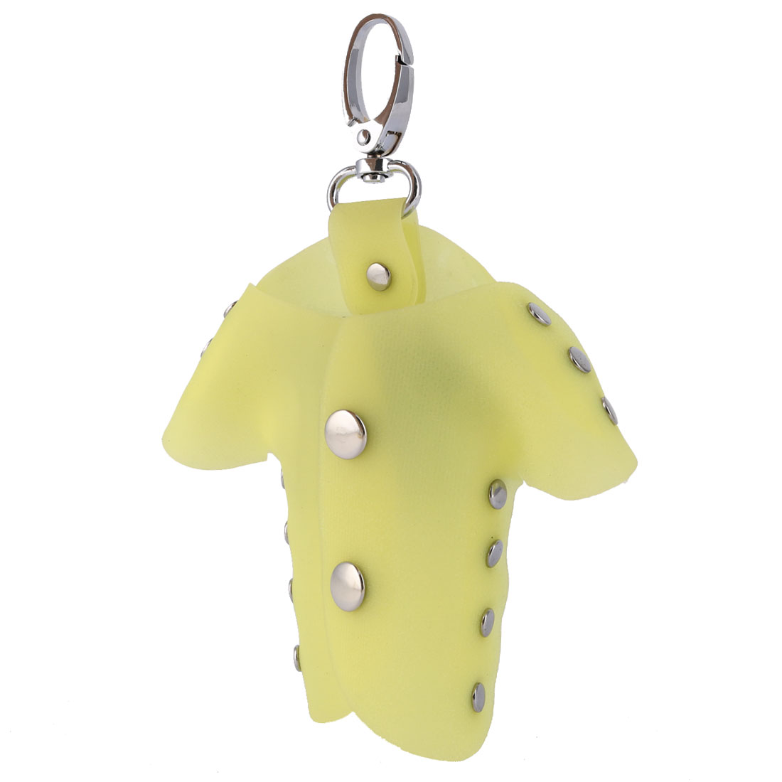 Plastic Cover Clothes Shape Portable Keychain Keys Holder Bag Silver Tone Yellow