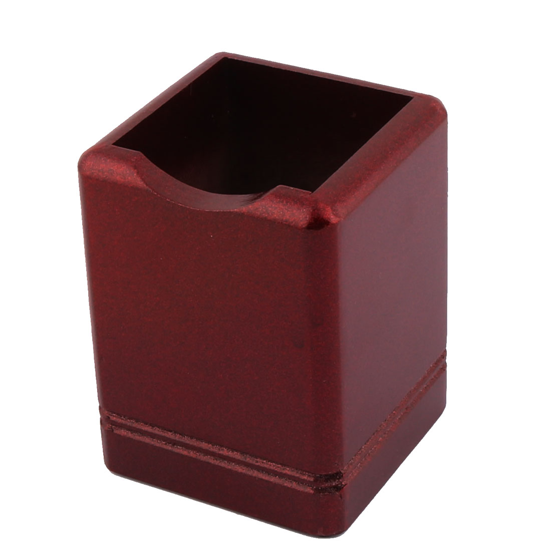 Wooden Cube Shaped Sequin Powder Ruler Pencil Pen Holder Organizer Box Wine Red