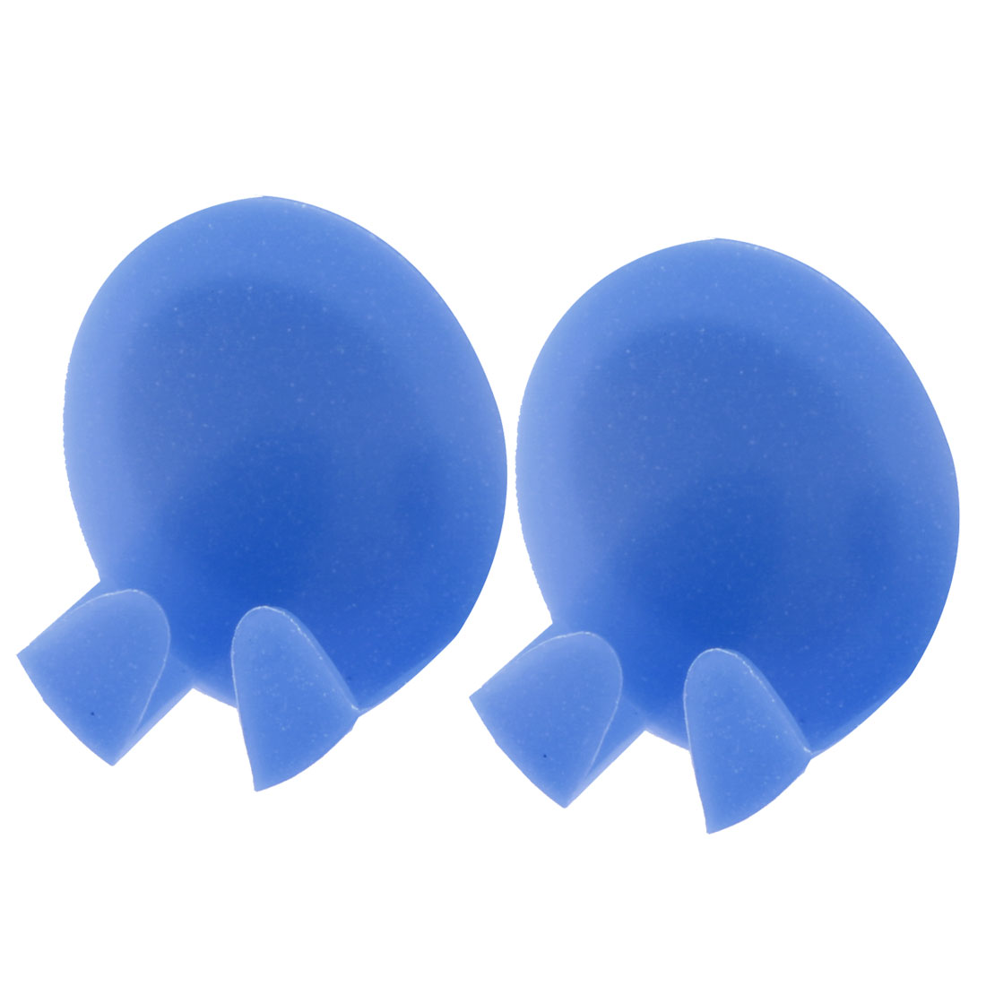 Plastic Oval Shaped Self Adhesive Electrical Connector Wall Hooks Blue 2 Pcs