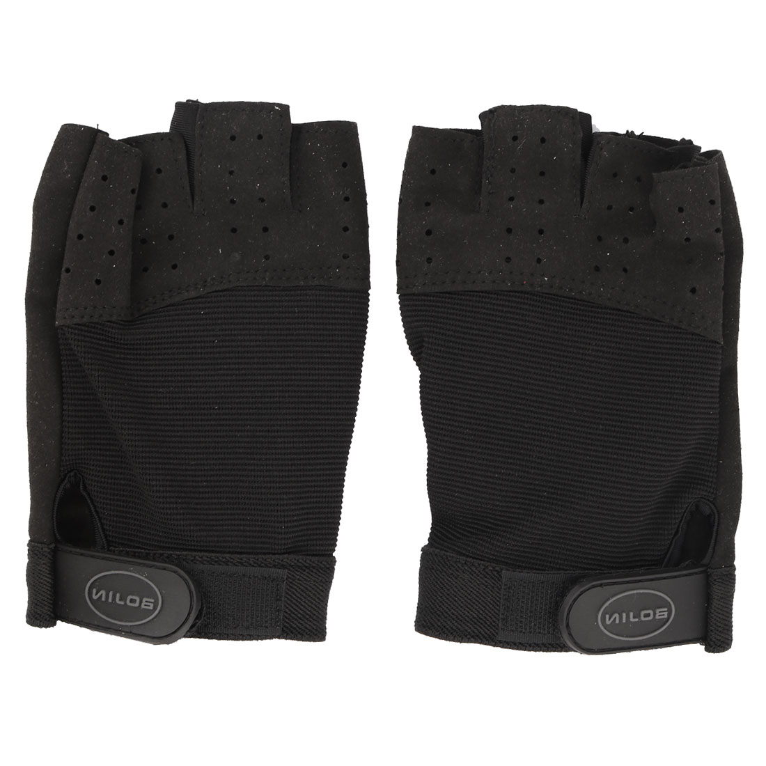 Neoprene Half Finger Design Training Sports Gloves Hands Protector Black Pair