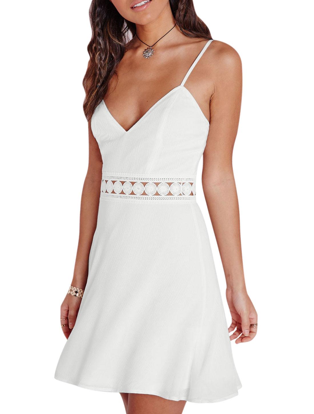 Women Deep V Neck Crochet Panel Hollow Out Cami Dress White M