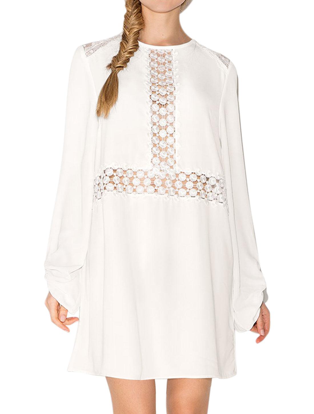 Women Crochet Mesh Panel Hollow Out Keyhole Tunic Dress White S