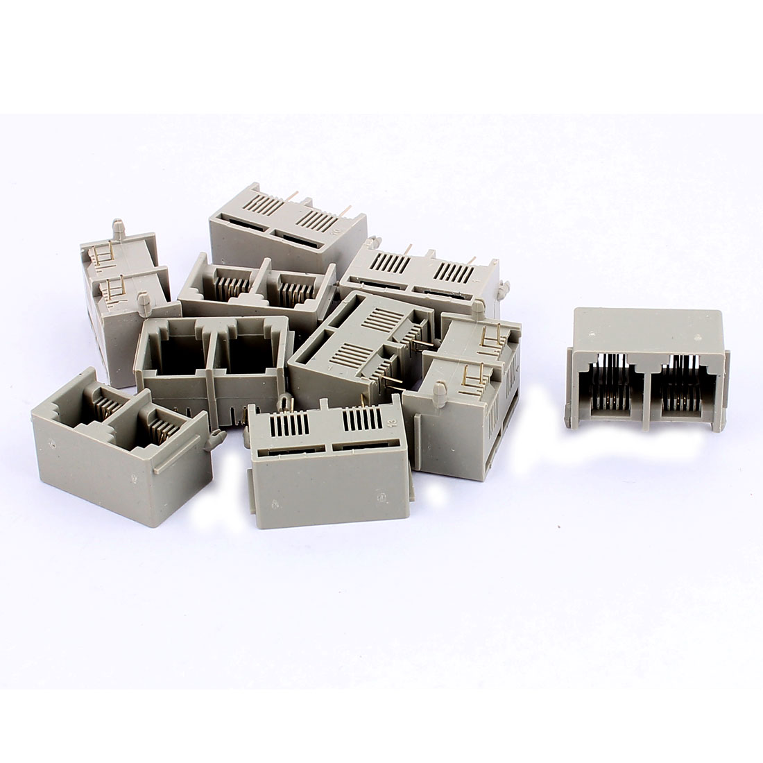 10 Pcs RJ11 6P2C Dual Ports Side Entry Modular Telephone Jack Connector