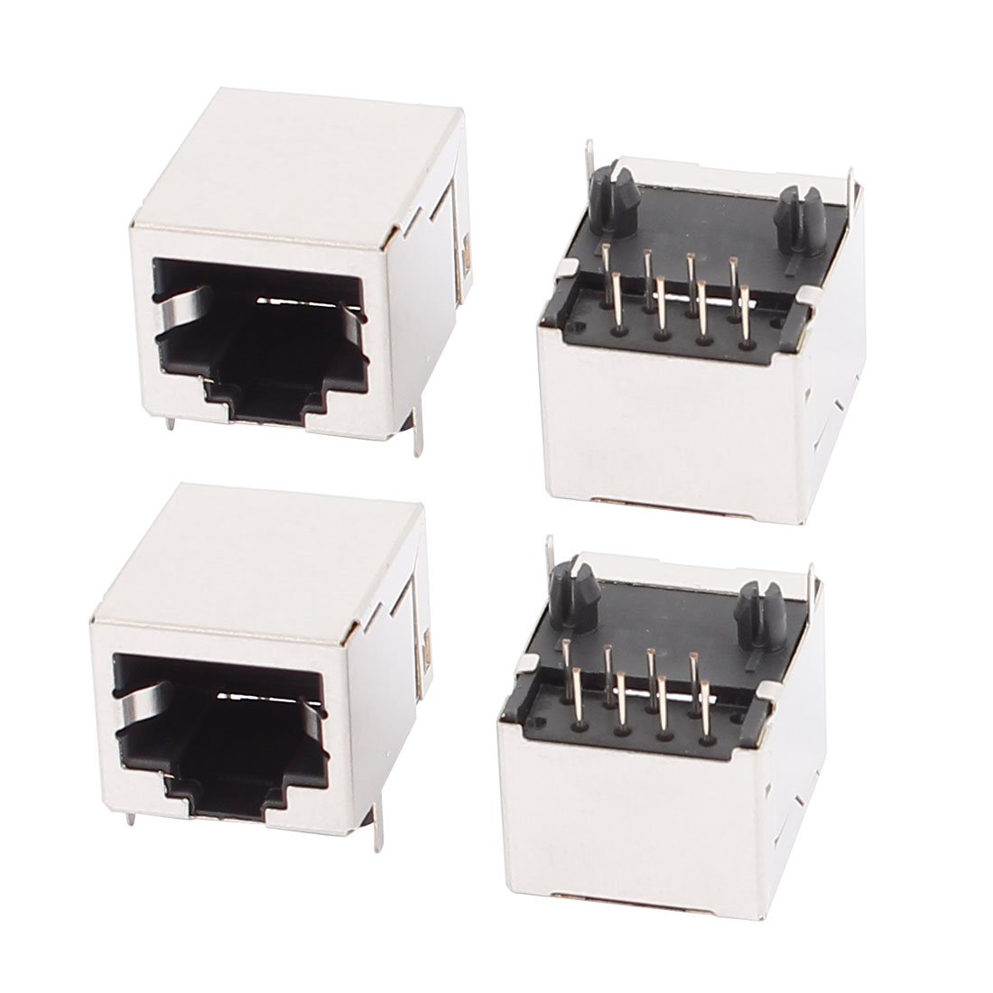 4Pcs RJ45 8P8C PCB Jacks Horizontal Mount Connectors Ethernet Sockets