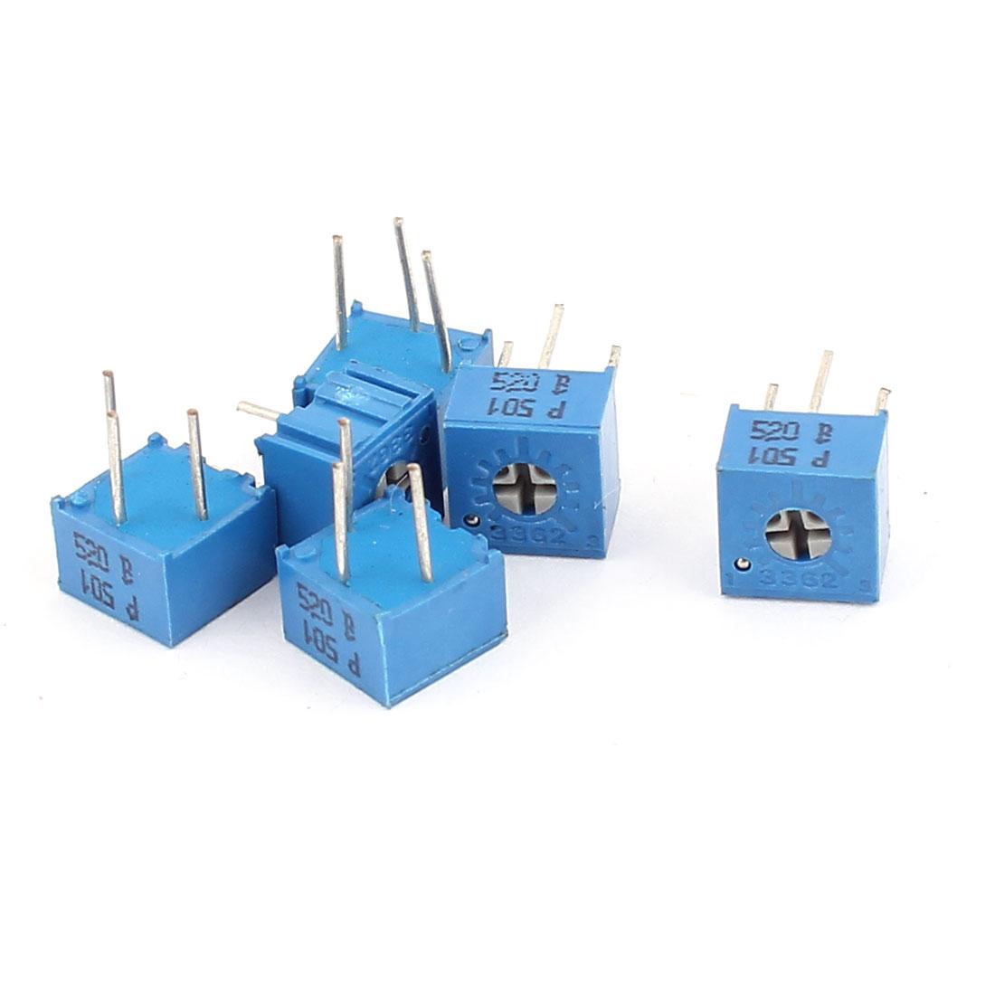 6 Pcs 3362P-501 500 Ohm Square Trimming Potentiometers