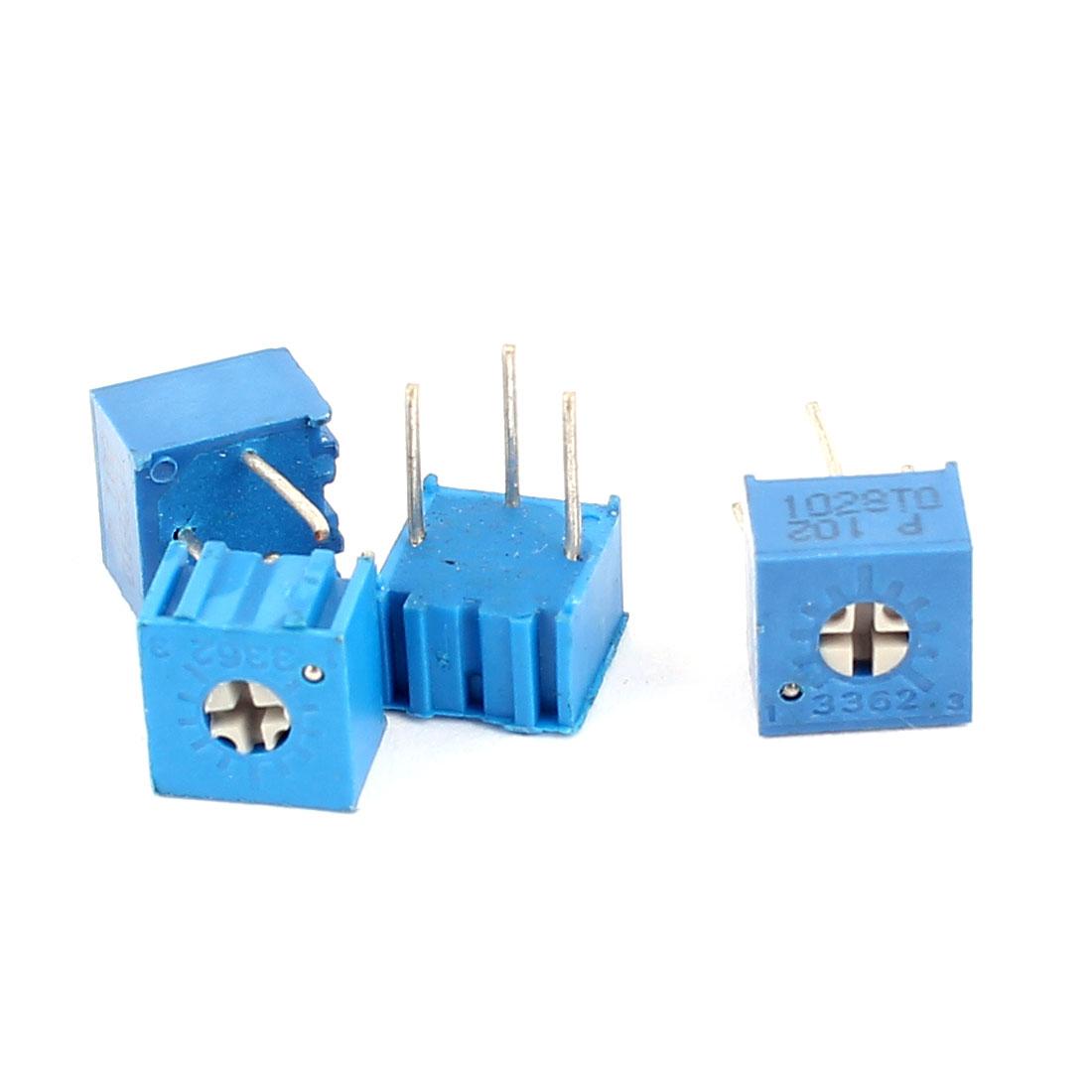 4 Pcs 3362P-201 1K Ohm Square Trimming Potentiometers