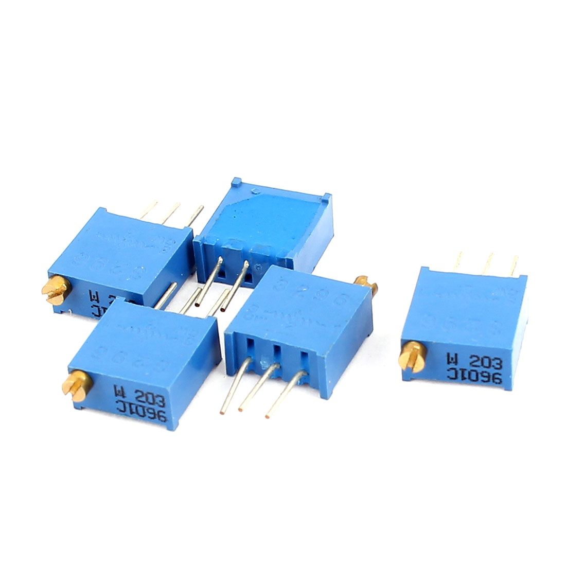 5Pcs 3296W-203 20K Ohm Resistor Trim Pot Potentiometer Trimmer Blue