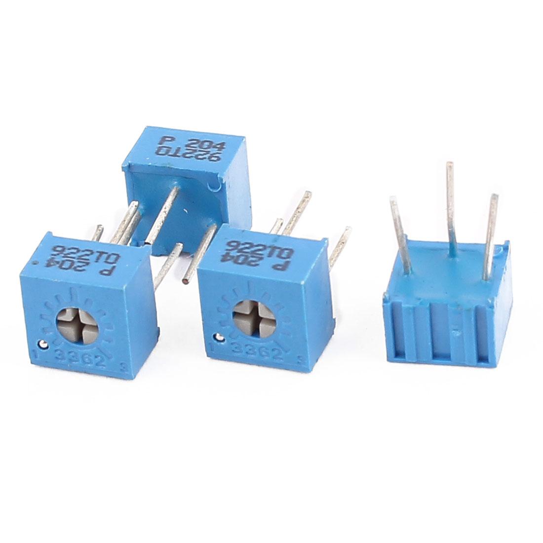 4 Pcs 3362P-204 200K Ohm Square Trimming Potentiometers