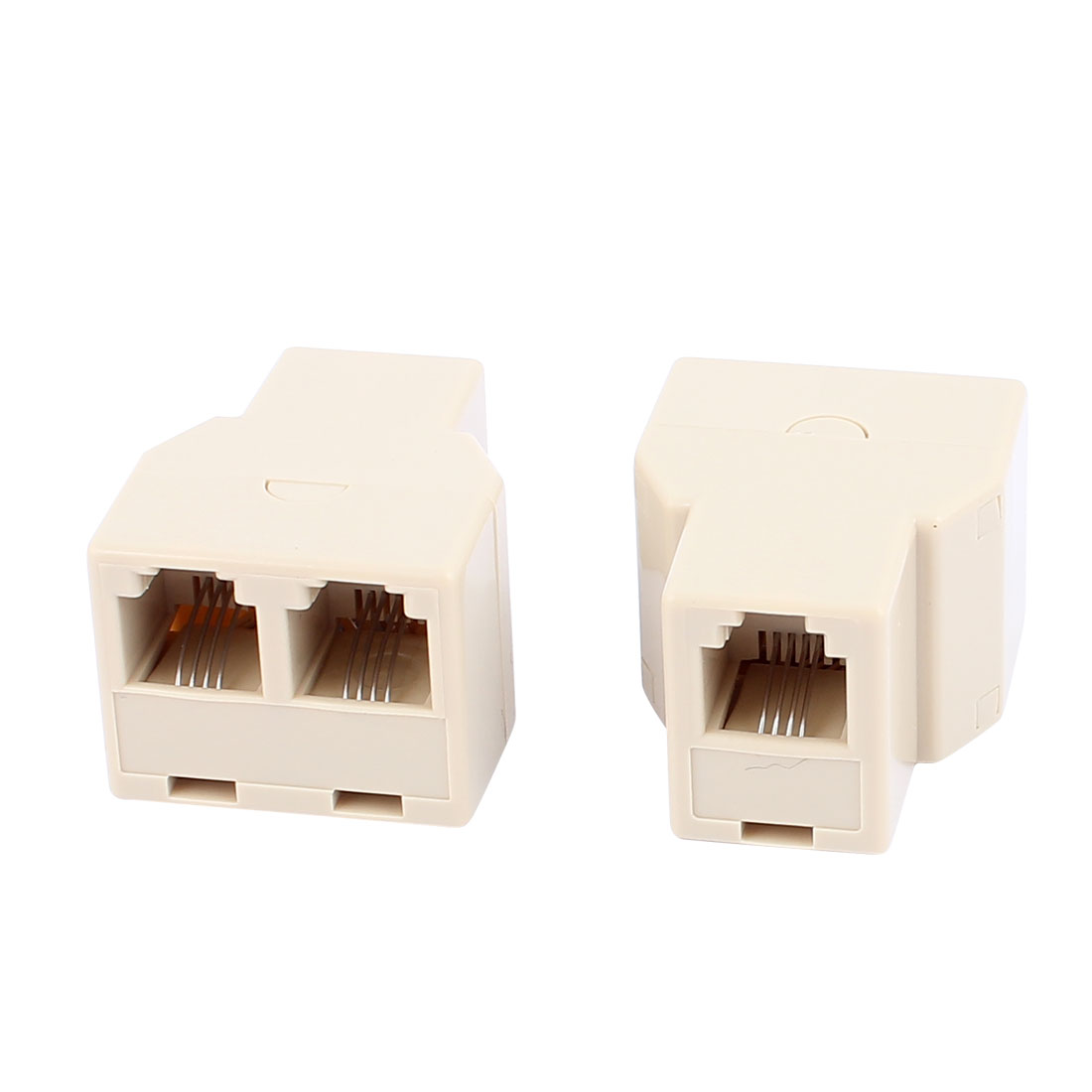 2Pcs 3 Way RJ11 6P4C Telephone Extension Connector Cable Line Adapter Converters Splitter