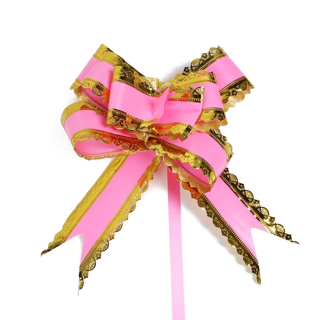 Wedding Bridal Party Gift Box Ribbon Pull Bows Decoration Pink 5cm Width 10pcs