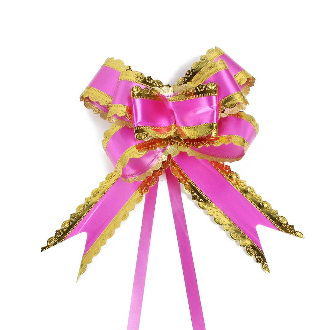 Wedding Bridal Party Gift Box Ribbon Pull Bows Decoration Fuchsia 5cm Width 10pcs