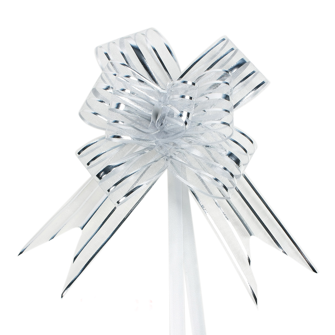 Wedding Party Gift Wrapping Ribbon Pull Bows Decoration Silver Tone 5cm Width 10pcs