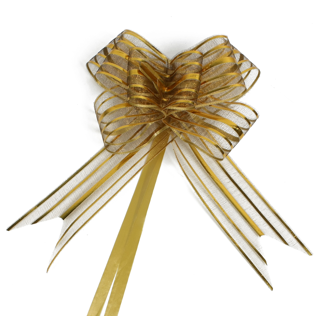 Wedding Party Gift Wrapping Ribbon Pull Bows Decoration Gold Tone 5cm Width 10pcs
