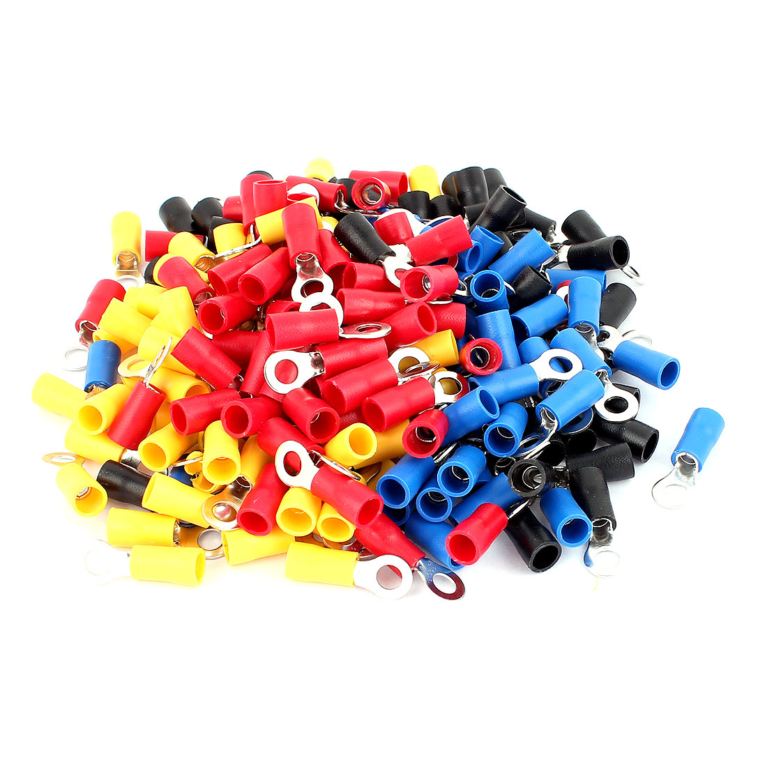 200pcs RV5.5-5 Red Blue Yellow Black Plastic Sleeve Pre Insulated Ring Terminals Connector