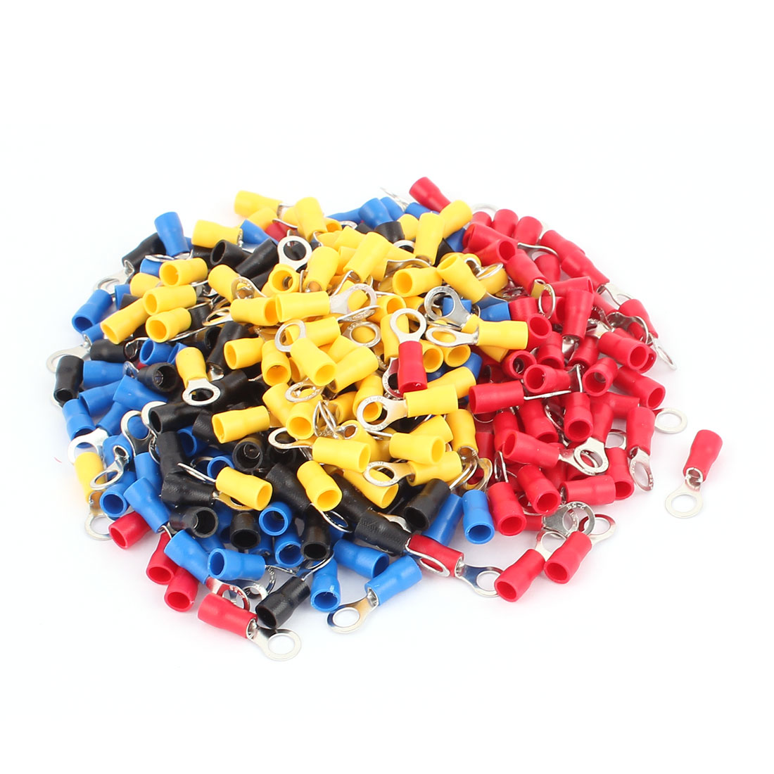 320Pcs RV2-5S AWG 16-14 Red Blue Yellow Blackv PVC Sleeve Pre Insulated Ring Terminals Connector