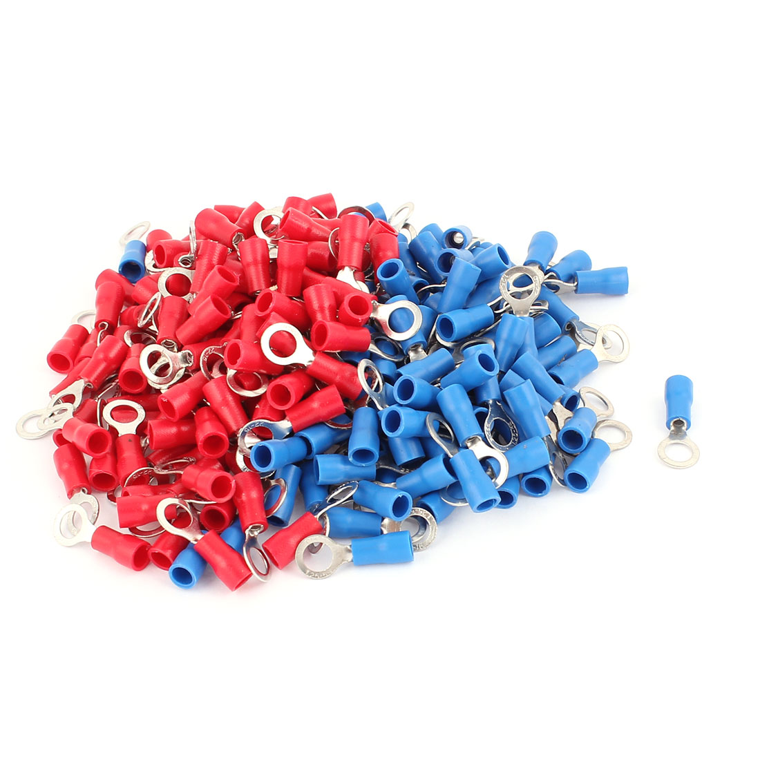 216 Pcs RV1.25-5 AWG 22-16 Red and Blue Sleeve Pre Insulated Ring Terminals Connector