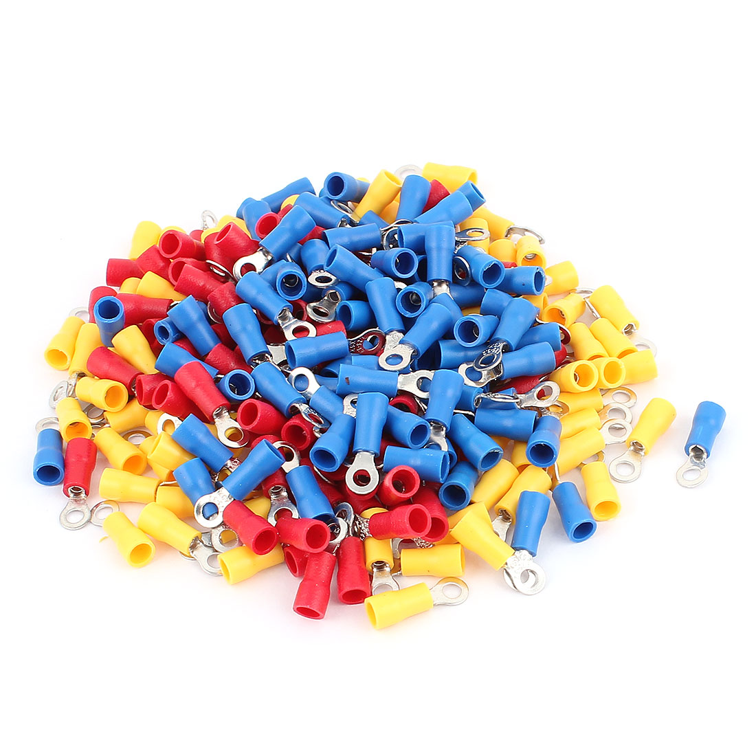 240 Pcs RV1.25-3.2 AWG 22-16 Red Blue Yellow Sleeve Pre Insulated Ring Terminals Connector