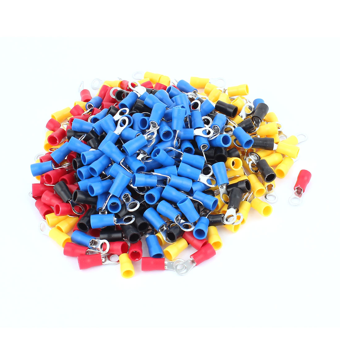 320Pcs RV2-4S AWG 16-14 Red Yellow Blue Black PVC Sleeve Pre Insulated Ring Terminals Connector