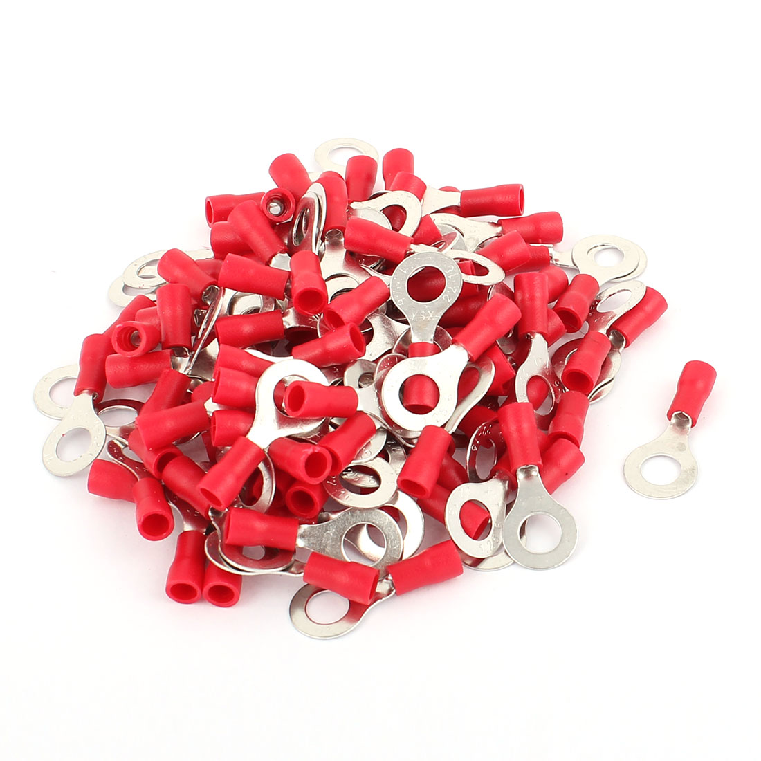 108 Pcs RV1.25-6 Red PVC Sleeve Pre Insulated Ring Crimp Terminals Connector