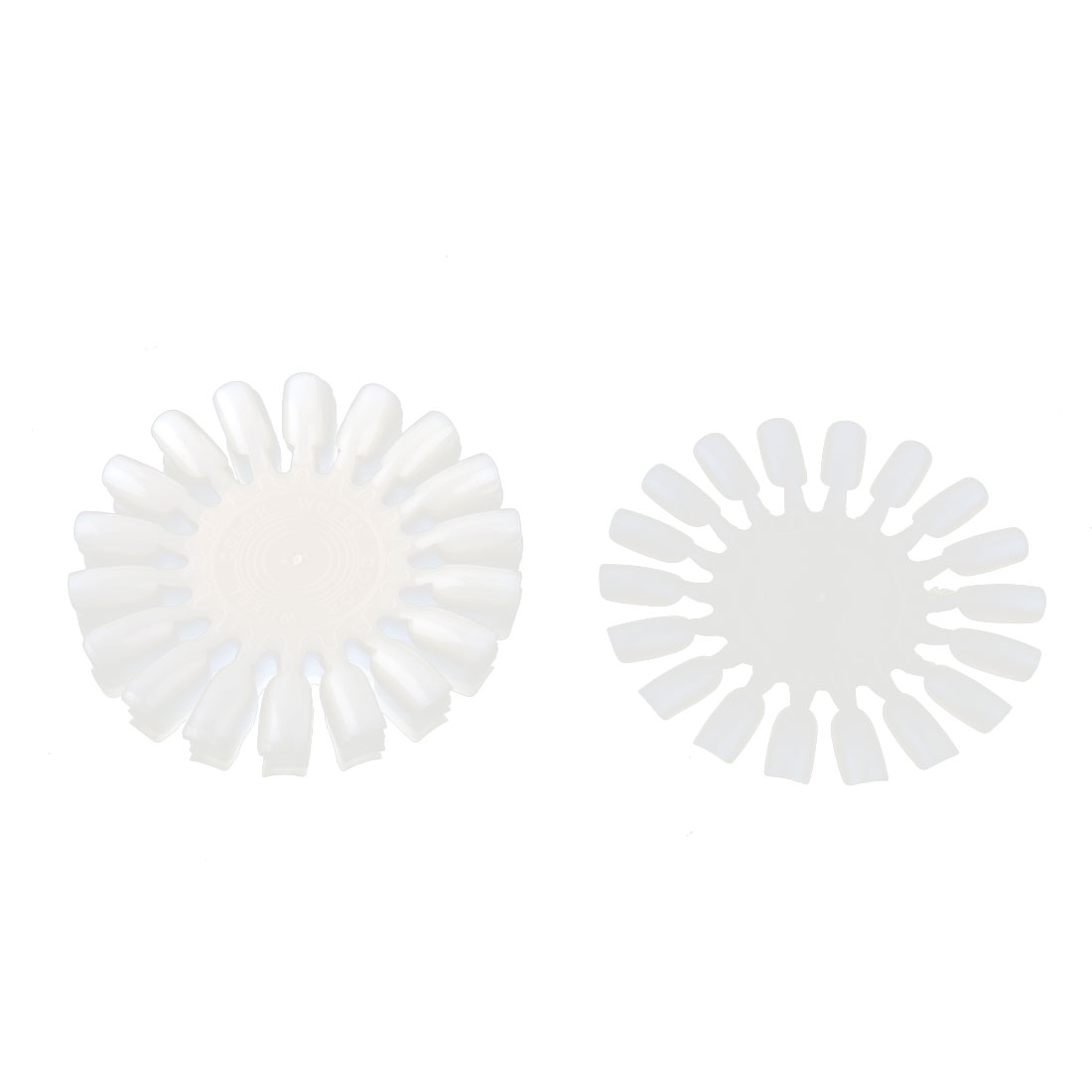 Makeup Plastic Fan Design Wearable False Fingernail Nail Tips Card Plate White 10pcs