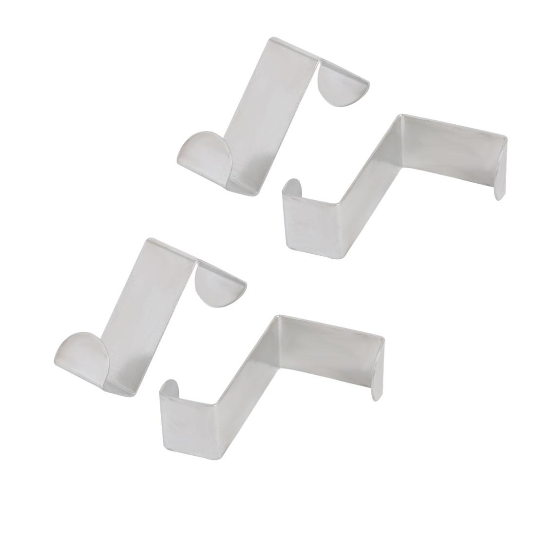 Household Wardrobe Stainless Steel Door Hook Hanger Organizer Silver Tone 4pcs