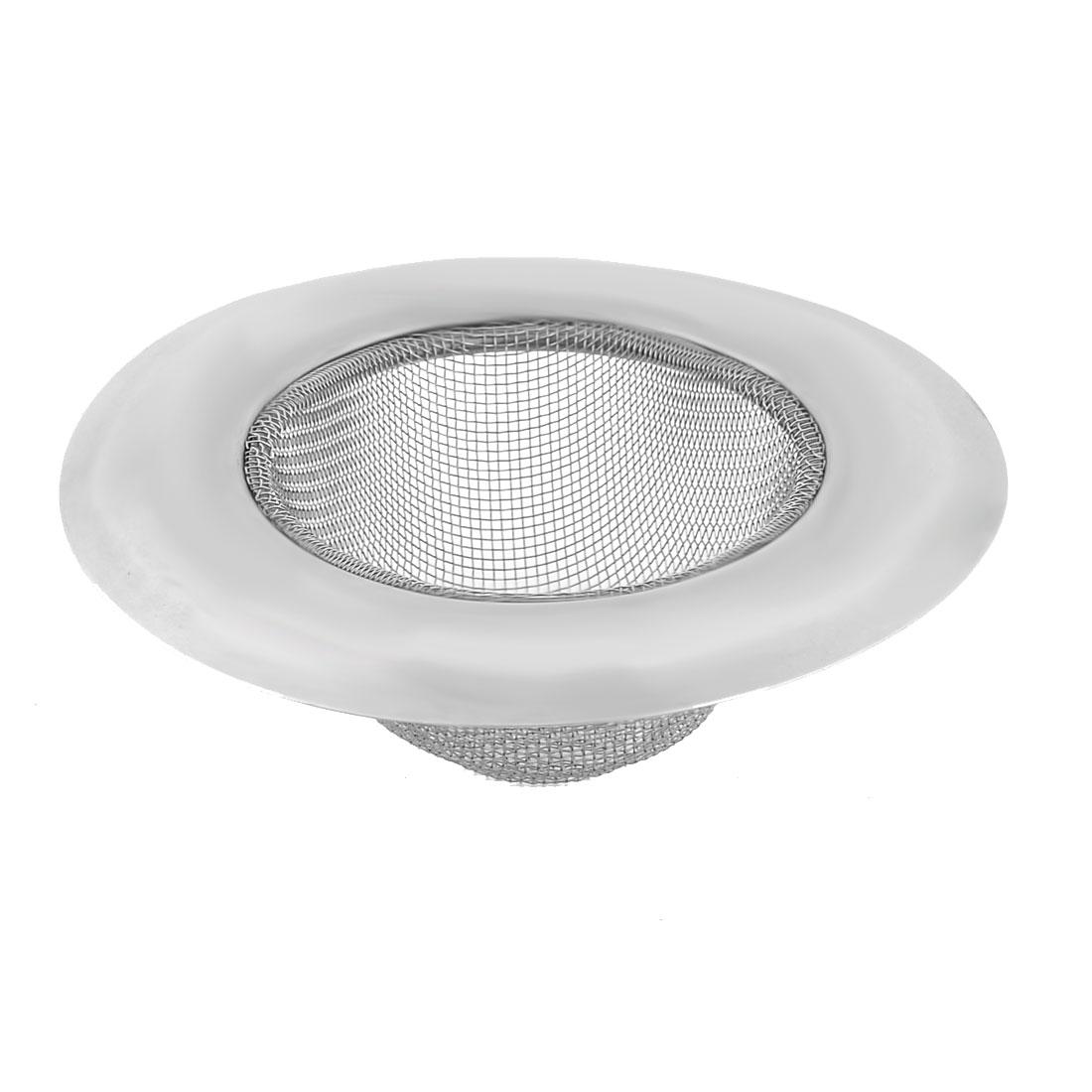 Household Mesh Basket Metal Round Sanitary Sink Drain Strainer Silver Tone