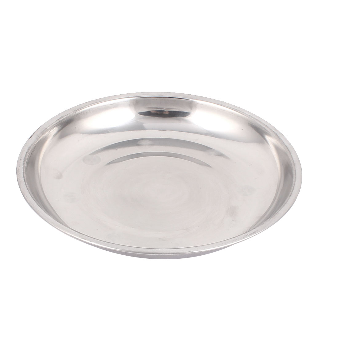 7.7 Inch Diameter Kitchen Round Shaped Strainless Steel Dish Plate Silver Tone