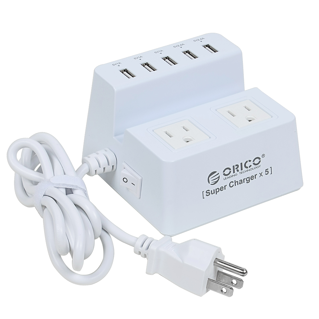 AC 100-250V US Plug 2 US Outlet 5 USB Ports Power Supply Strip 5ft Cable White