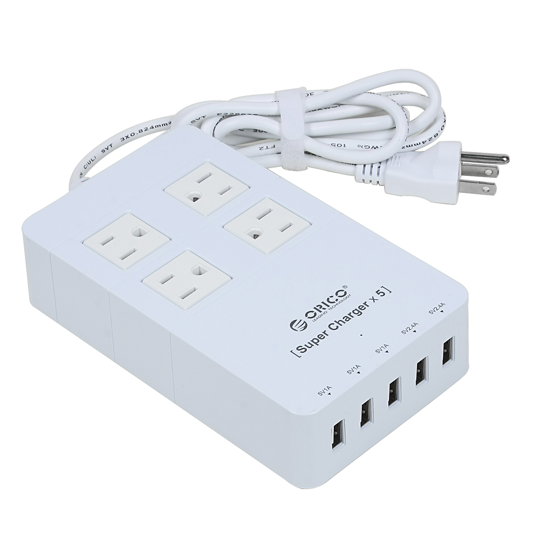 AC100-250V US Plug 4 US Outlet 5 USB Ports Surge Protector Power Strip 5ft Cable White