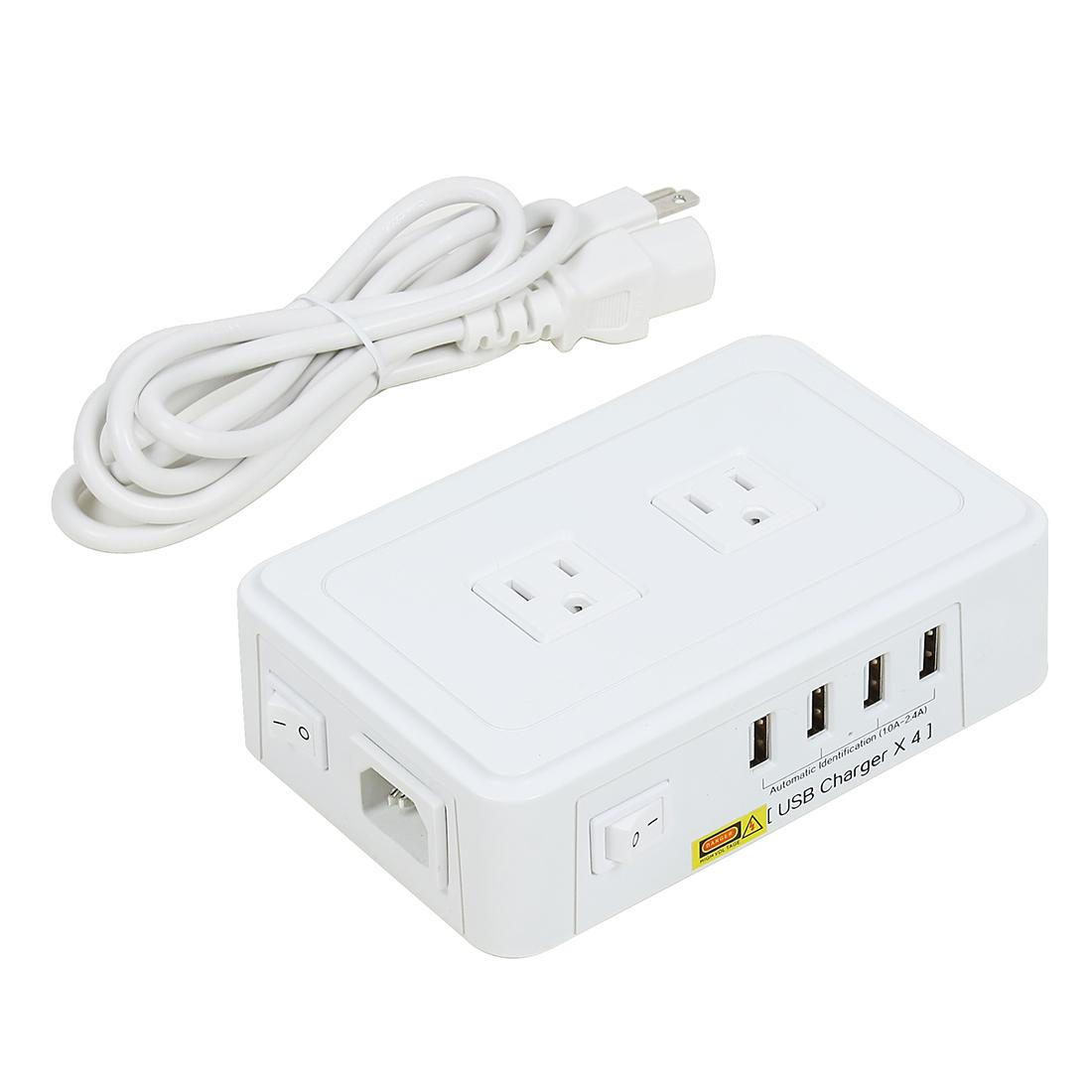 AC 95-240V US Plug 2 US Outlet 4 USB Ports Smart Charging Socket 5ft Cable White