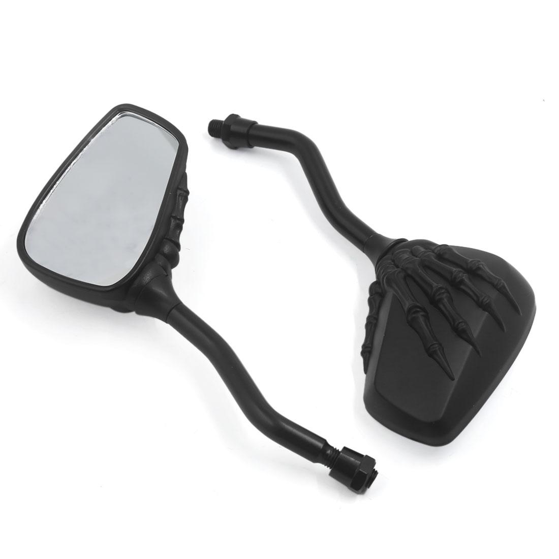 Custom Black Skull Skeleton Hand Mirrors For Motorcycle Cruiser Chopper Scooter