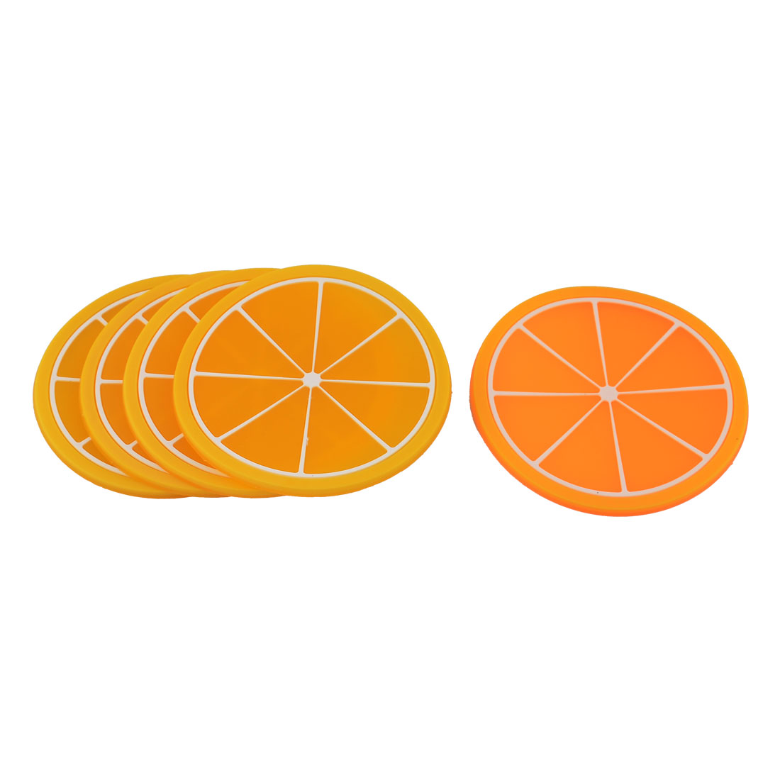 Home Silicone Octagon Shape Heat Resistant Table Cup Mats Pad Orange 5pcs