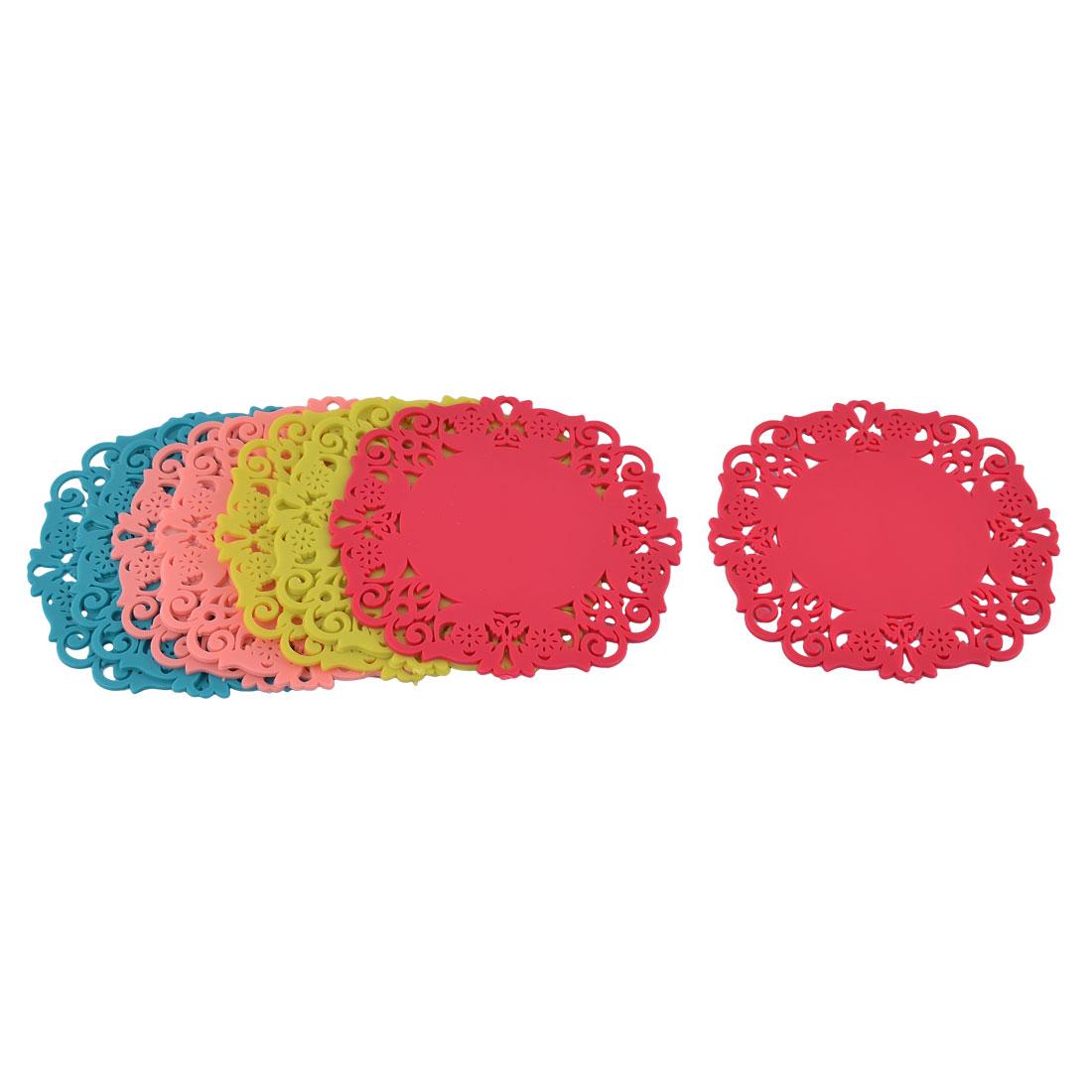 Home Kitchen Rubber Floral Shape Heat Resistant Mat Multicolor 8 Pcs
