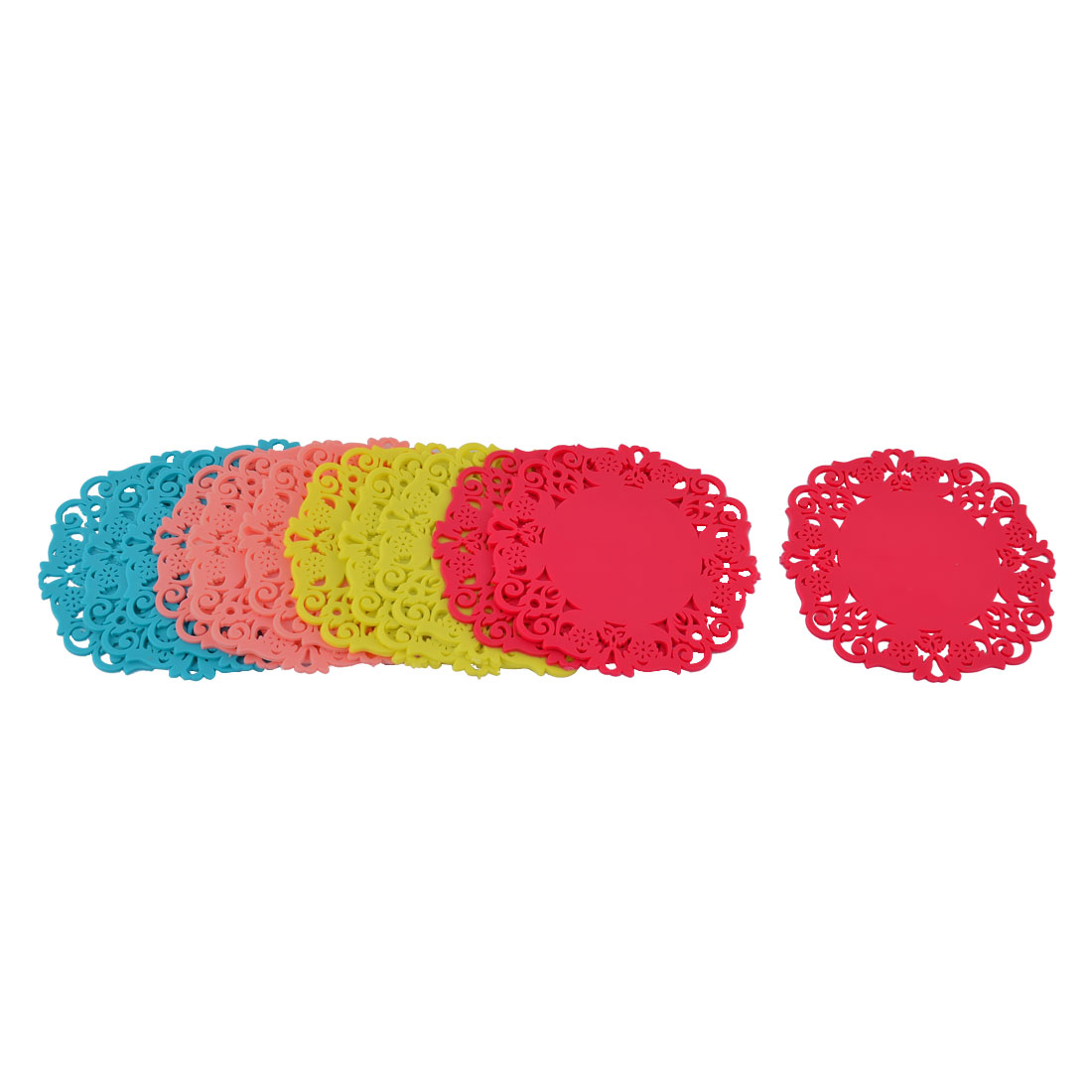 Home Kitchen Rubber Round Floral Shape Heat Resistant Mat Multicolor 12 Pcs