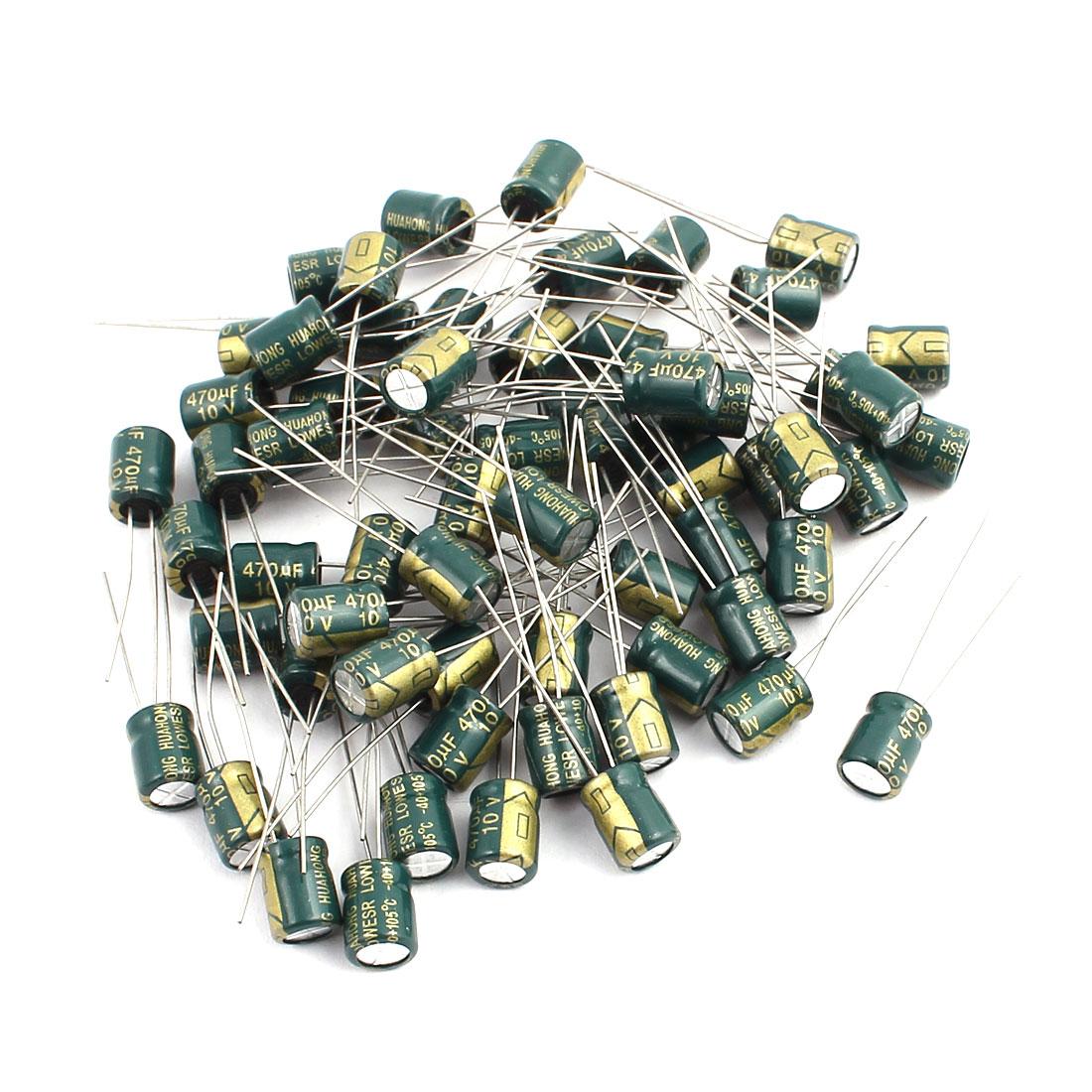 65Pcs 10V 470UF Aluminum Electrolytic Capacitors 105 degree Celsius 6.3x7mm