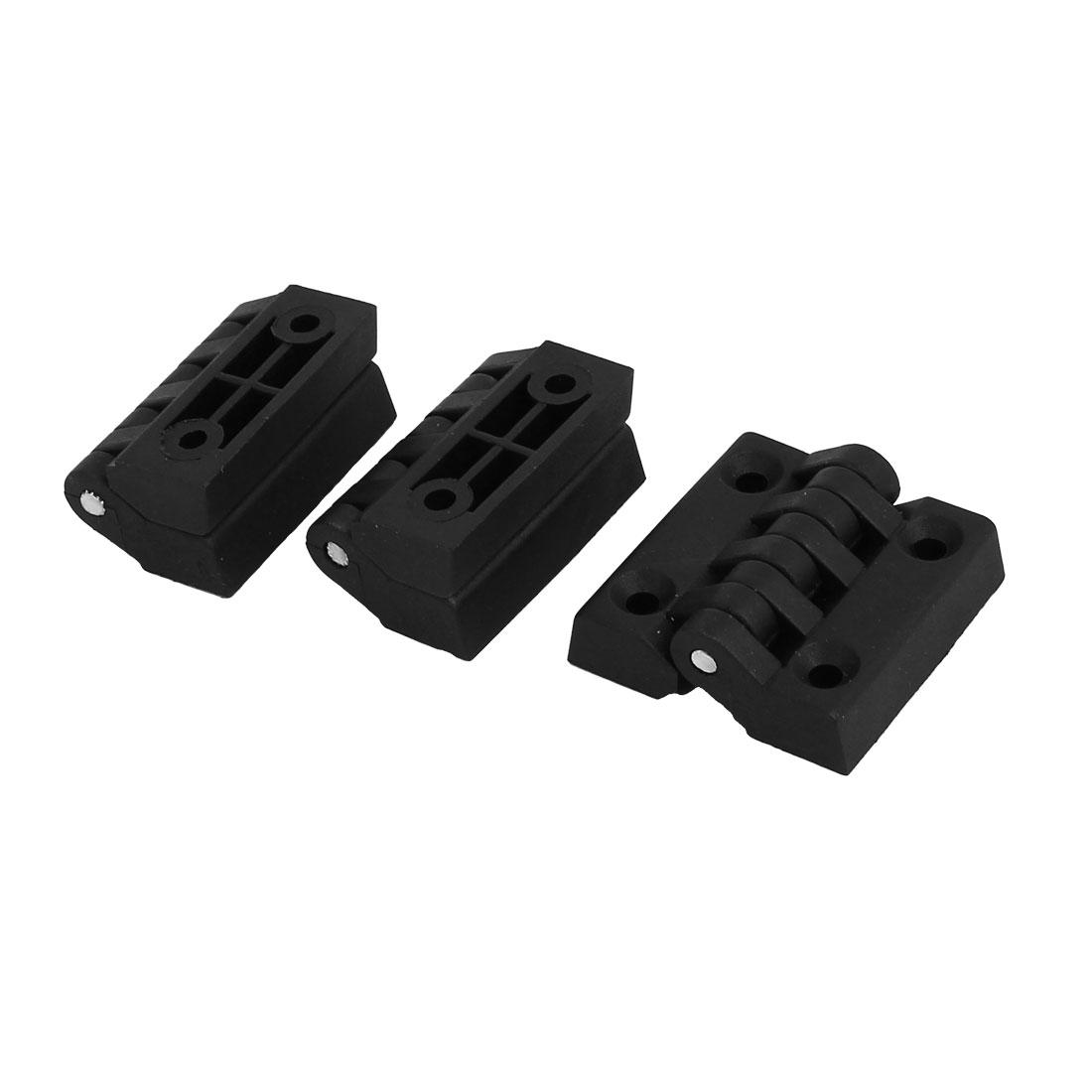 Door Closet Foldable Flap Plastic Hinge 39mmx38mm Black 3pcs