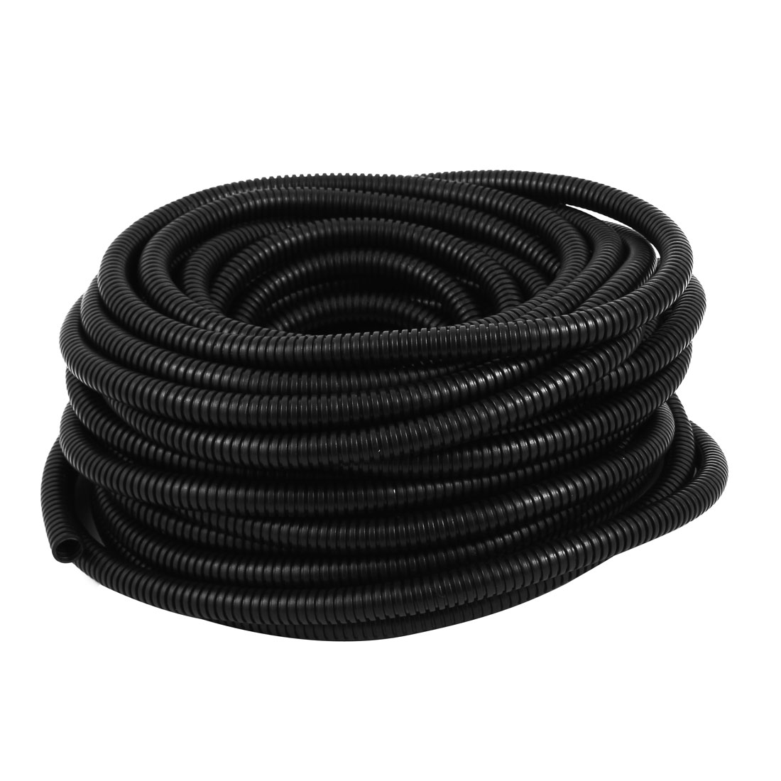 Black Plastic 13mm x 10mm Flexible Corrugated Conduit Pipe Hose Tube 16.8m Long