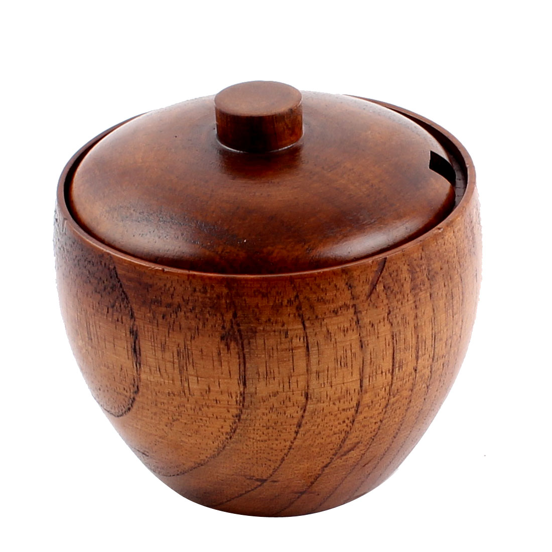9cm Diameter Wooden Round Salt Pepper Mustard Cruet Pot Holder Container Brown